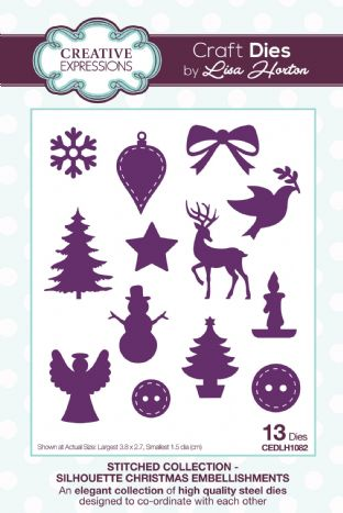 Stitched Collection Silhouette Christmas Embellishments Craft Die